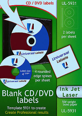 50 CD or DVD labels - 2 labels & 4 spines per sheet - Made in the USA
