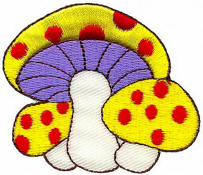 2pcs mushroom retro 70/'s hippie love peace embroidered applique iron-on patch PG