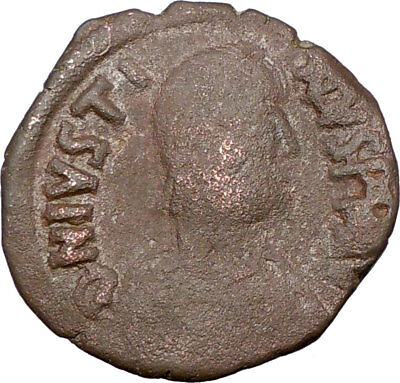 JUSTIN I Emperor 518AD  Authentic Ancient  Medival Byzantine Coin i23117