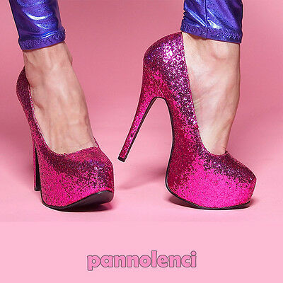 649867a9ce7052 Scarpe donna decolletè decolte Burlesque 38 FUCSIA glitter pumps PLS-11