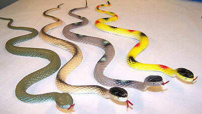2 RUBBER SNAKES 24 INCH snake reptile toys pretend play NEW nature garden props