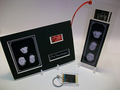 Three 3 Stooges Rare 3 Piece Movie Film Cell Memorabilia Collection Gift Set Lot