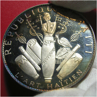 1968 HAITI 25 GOURDES 3.7oz SILVER PROOF ART OBJECTS 60mm BIG THICK MINT=5,810!