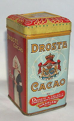 Antique Vintage Droste Haarlem Lady Cocoa Cacao Litho Tin Case Box