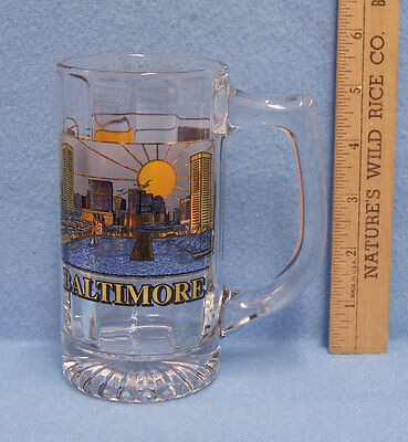 """Glass Souvenir Stein From Baltimore Maryland 5 1/2"""""""