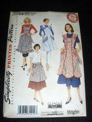 4 Vintage Aprons New Simplicity 3544 Pattern Sizes 10-20
