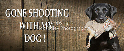 SHOOTING HUNTING GIFT DOOR SIGN BLACK LABRADOR RETRIEVER WITH PARTRIDGE