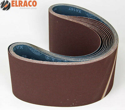 Ten Sanding Belts 150x1220mm (6x48) 60grit. Industrial cloth backed. ABRB648060