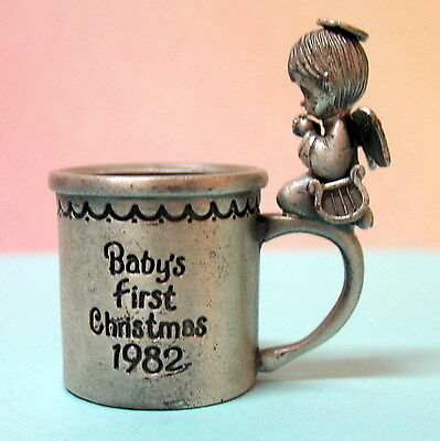 Precious Moments Dated 1982 Praying Angel Boy Baby's 1St  Xmas Mini Baby Cup