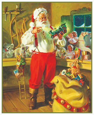 Victorian Father Christmas Santa Claus Presents Counted Cross Stitch Pattern
