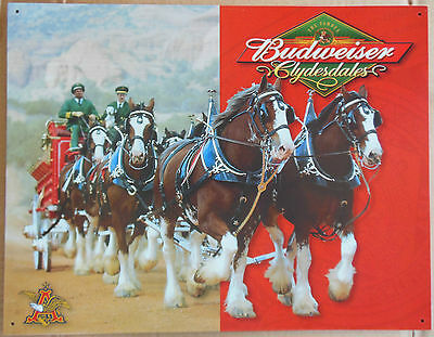 Budweiser Beer Anheuser-Busch Clydesdales Vintage Advertising Tin Sign #1281