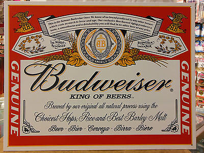 Budweiser Anheuser-Busch Can Label King Beers Vintage Advertising Tin Sign #979