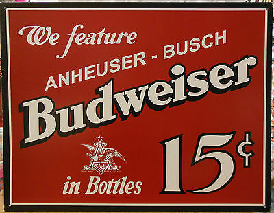 Budweiser Anheuser-Busch For Sale 15 cent Beers Vintage Advertising Tin Sign 995