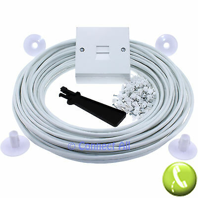 30M White Cw1308 Bt Telephone Adsl Pc Broadband Extension Cable Lead 2 Pair Kit