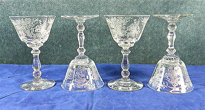 """8-PIECES OF HEISEY """"ROSALIE"""" PATTERN 3408, PLATE ETCHING #497 CRYSTAL STEMS"""