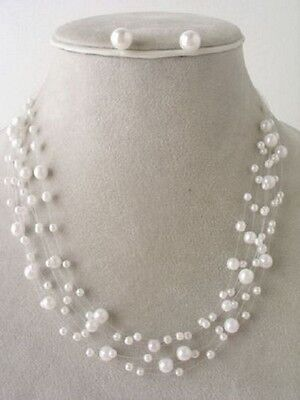 SIX ROW WHITE FAUX PEARL INVISIBLE CORD NECKLACE SET