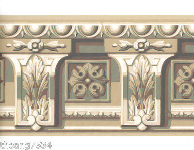 Architectural Crown Moulding Molding Cornice Corbel Blue Tan Wall paper Border
