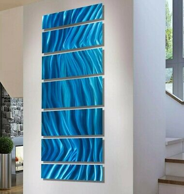 Statements2000 Modern 3D Metal Wall Art Abstract Aqua Blue Painting Jon Allen