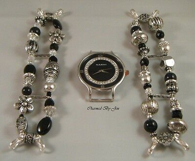 New BLACK Handcrafted WATCH SET w/ (2) INTERCHANGEABLE Chunky Beaded BANDS