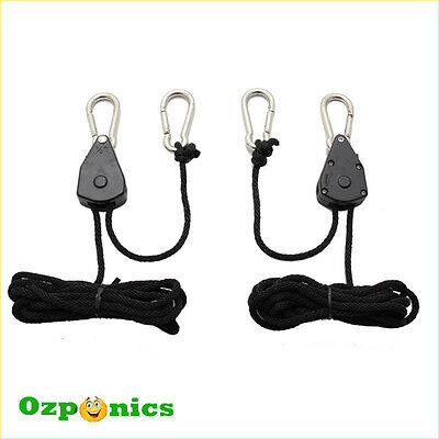 Hydroponics Grow Light Heavy Duty Lighting Shade Hanger Rope Ratchet - 4 Pair