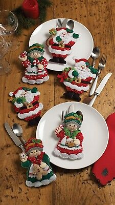 Bucilla Santa & Mrs. Claus ~ Felt Christmas Silverware Holder Kit #86310, 6 Pces