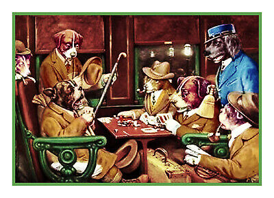 Coolidges Dogs Playing Poker His Station 4 Aces Counted Cross Stitch Pattern