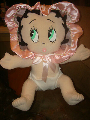 "LARGE PLUSH 14"" BABY BETTY BOOP in PINK BONNET DIAPER by KELLYTOY ~ HTF ~ EUC"