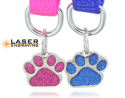 Glitter Paw Print Pet ID Tags Custom Diamond Engraved Dog Cat Tag Personalized