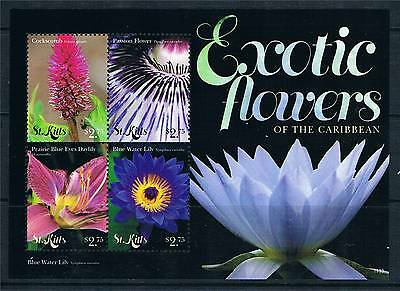St Kitts 2011 Exotic Flowers 4v sheet MNH