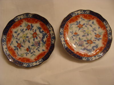 Set of Two  Blue / White Floral Plate 3 1/2 inches