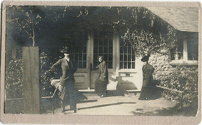 Man, Two Women Posing In Front Of House Original Vintage Photo