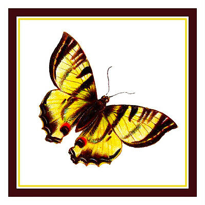 Colorful Ivory Tan Butterfly Counted Cross Stitch Chart Pattern