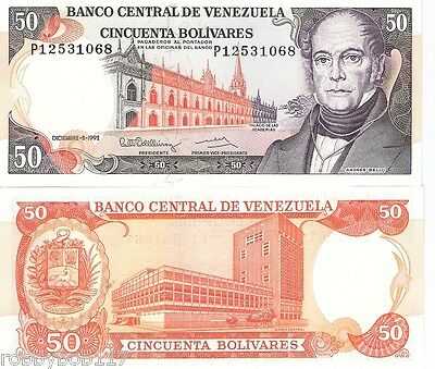 VENEZUELA 50 Bolivares Banknote World Money Currency South America BILL p 65d