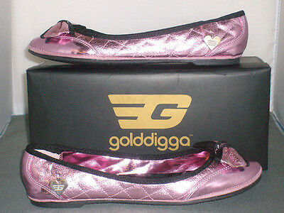 Golddigga Ballet Pumps Girls/Womens Metallic Pink Bow Detail Sizes 5,6 £9.99