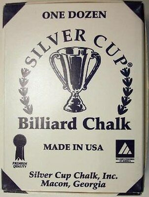 Silver Cup Billiard Chalk - 6 Boxes of One Dozen/Box of 12 - 20 Color Choices