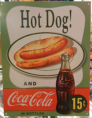 COKE Coca Cola Soda Pop Hot Dog Ad Bottle Vintage Advertising Tin Sign  #1048