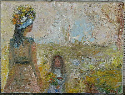 Beautiful Mother and Child-Oil-1970's