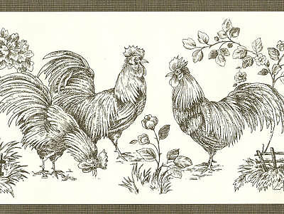 COUNTRY DARK GREEN TRIM IN BLACK OFF WHITE  ROOSTERS  Wallpaper Wall bordeR