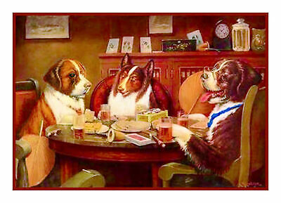 Dogs Playing Poker Post Mortem Counted Cross Stitch Pattern