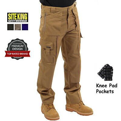 Mens Multi Pocket Cargo Work Trousers with Knee Pad Pockets By SITE KING / 003