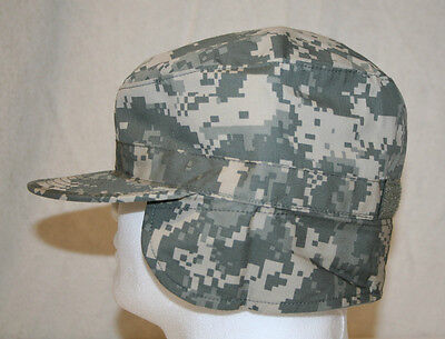MIL-SPEC ACU UCP CAMO COLD WEATHER PATROL CAP HAT W/ MUFF SIZE 7 1/4 U.S. MADE