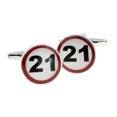 21 MPH Road Sign Birthday Age Cufflinks in a Cufflink Box X2BOC060