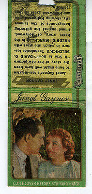 1930s Adv Matchbook of Hollywood Star Janet Gaynor