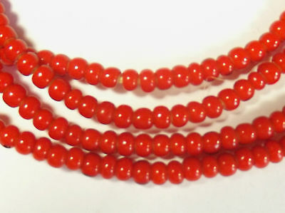 2 Strands  African Orange WHITE HEART Trade Beads Africa 4 mm