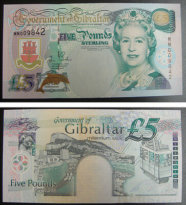 Gibraltar Commemorative Banknote 5 Pounds 2000 UNC