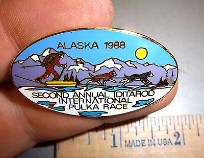 1988 Iditarod international Pulka Alaska Sled Dog Race Tie Tac Lapel Pin