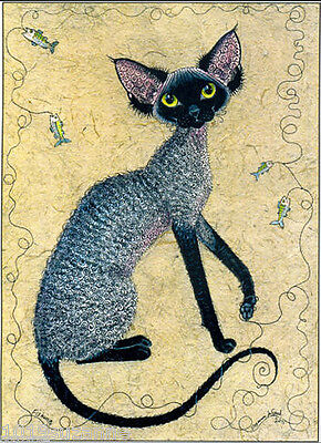 Large Unmounted Black Smoke Devon Rex Cat Painting Print By Suzanne Le Good
