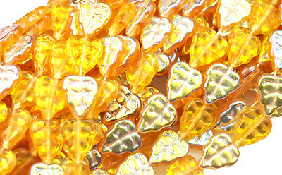 25 DARK TOPAZ  VITRAL FROSTED GLASS LEAF BEADS 10MM