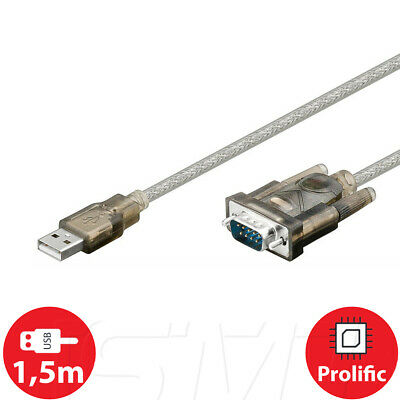 USB RS-232 Seriell Konverter Kabel RS232 Adapter DB 9 SAT Update 1,5m Windows 10