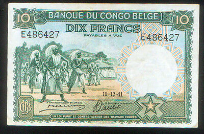 BELGIAN CONGO 10 FRANCS of 1941 P# 14 doing the WATUSI & SOLDIERS EXTREMELY FINE